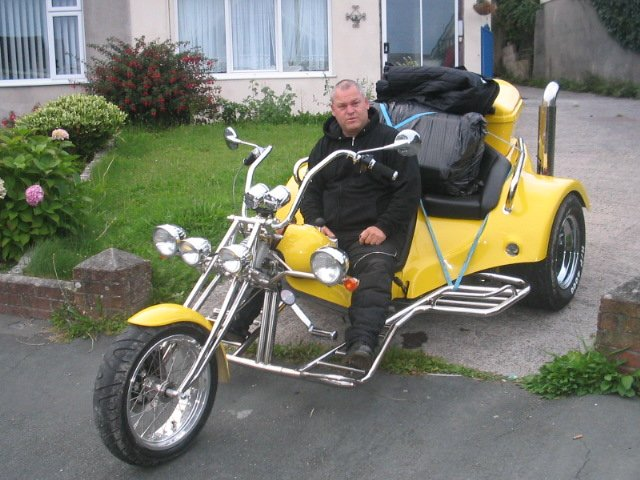 John Asten, now based in Newquay, on his trike. Not like the one he used to have when he lived at Maypole.